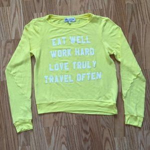 NEW WILDFOX COUTURE LIFESTYLE YELLOW SWEATER